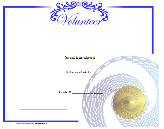 A Printable Certificate Honoring A Volunteer And Illustrated With