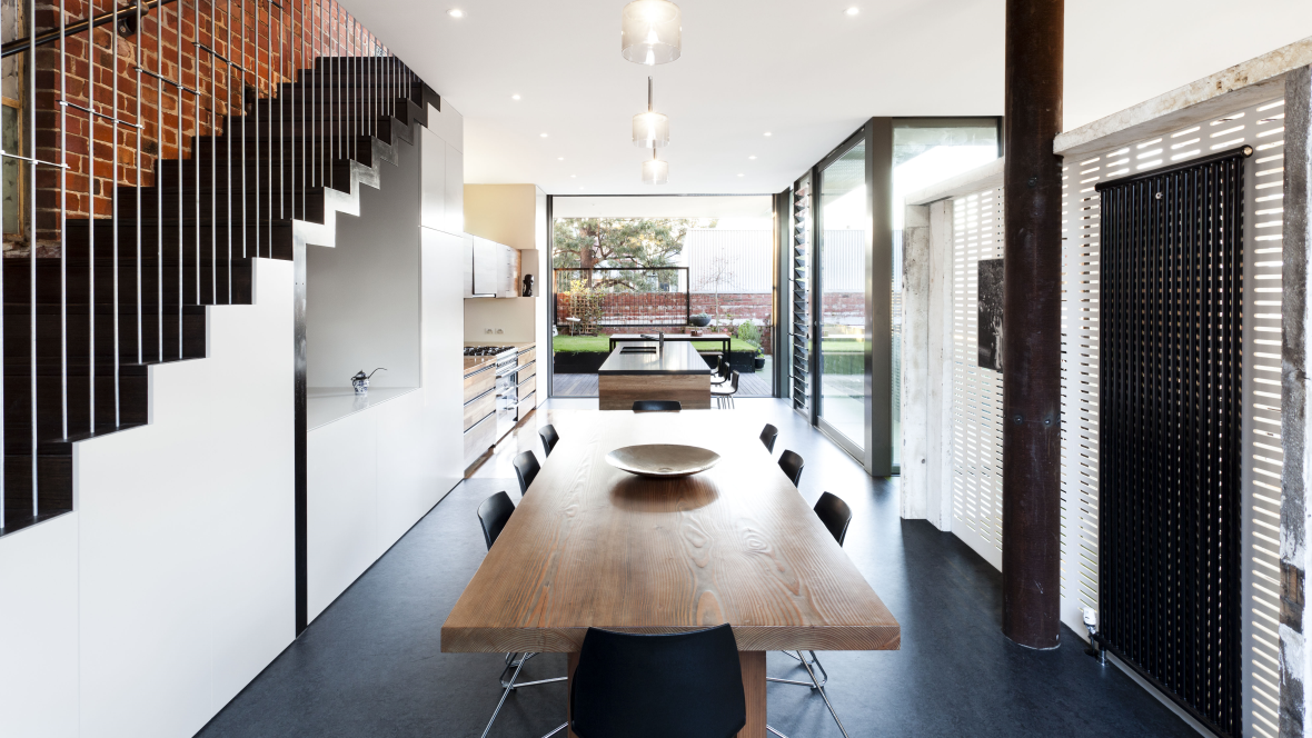 House a Warehouse House design, Dining room interiors