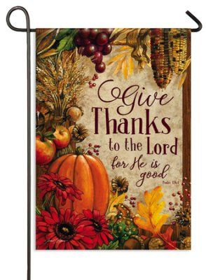 Give Thanks Lords Bounty Flag Small Thanksgiving Flag Garden Flags Harvest Decorations