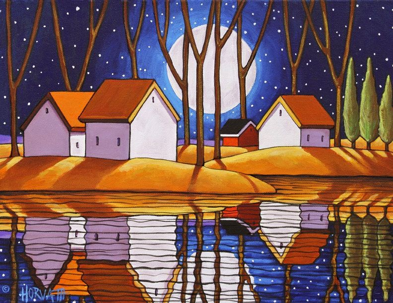 Night Moon Water Reflection Landscape by artist Cathy Horvath, 11x14 Art Print Fall Stars Blue Evening Modern Folk Art Giclee, Autumn Waterside Artwork at SoloWorkStudio on Etsy