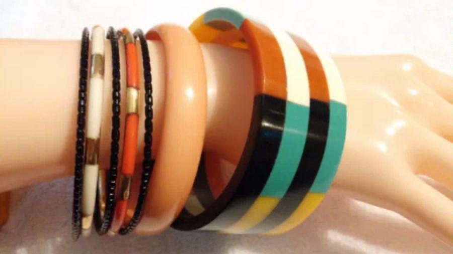 Vintage bangles - brass & lucite(?), laminated lucite
