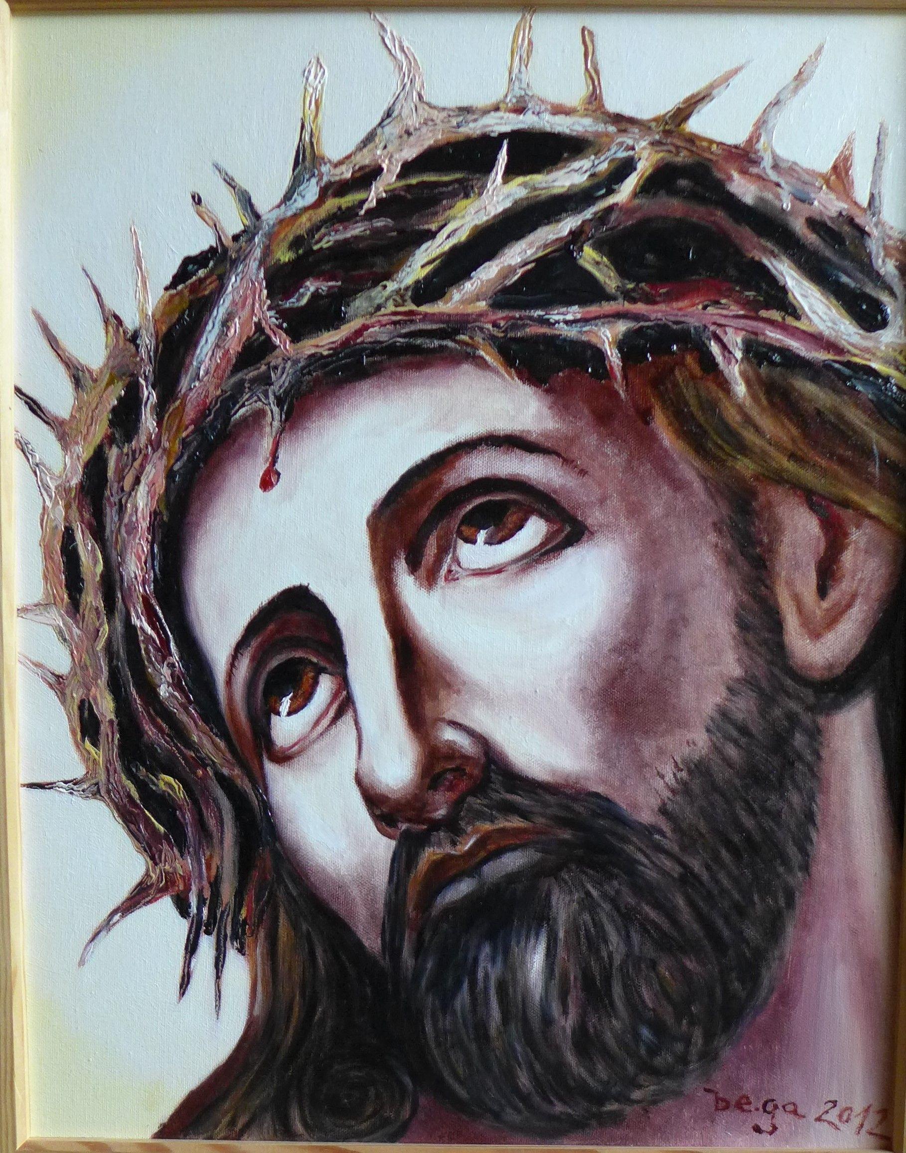 jesus mir dornenkrone bega 2012 ol auf leinwand 30x40 cm leinwanddruck günstig leinwände fotos