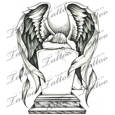Marketplace Tattoo Grieving Angel And Tombstone 15785 Createmytattoo Com Guardian Angel Tattoo Designs Angel Tattoo Heaven Tattoos