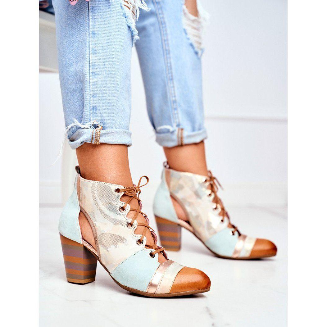 Botki Damskie Na Slupku Skorzane Maciejka Wiosenne 03938 04 Bezowy Wielokolorowe Zielone Ankle Boot Shoes Boots