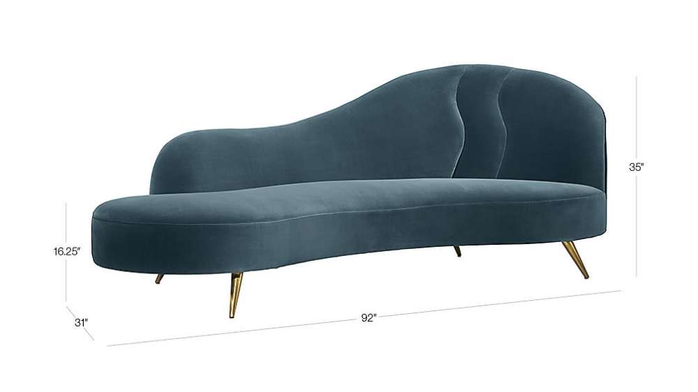 Copine Peacock Velvet Curved Chaise Lounge In 2020 Velvet Chaise
