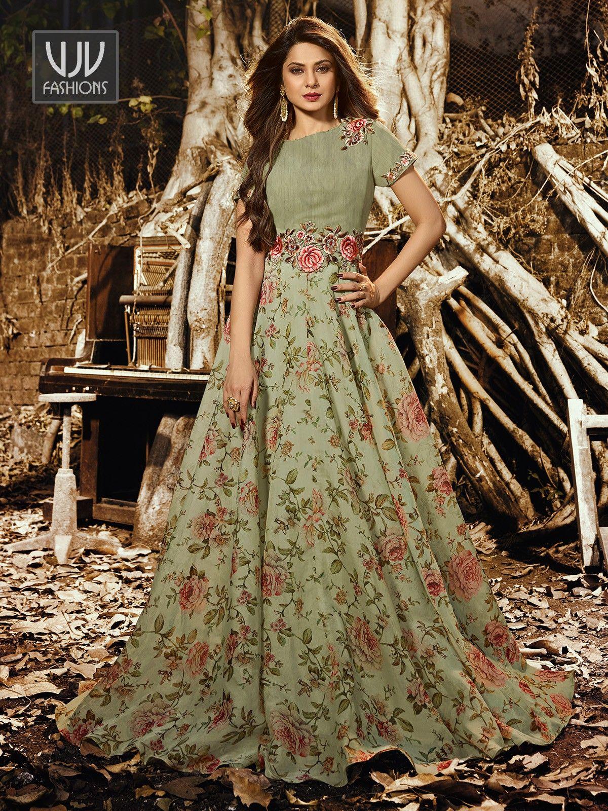 Jennifer Winget Green Silk Organza Designer Suit in 2020 ...