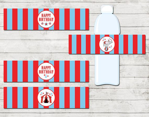 Water Bottle Labels - Circus Carnival Theme Birthday Party - Red and Blue - INSTANT DOWNLOAD - Printable