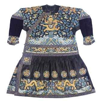 A Chao Fu or festive robe. Qing dynasty, Mid-19th century. Photo 2911 Christie's Ltd.  The summer weave silk embroidered in counted stitch with silk and gilt thread dragons, bound in bright blue kinran.