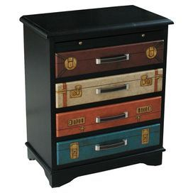 """Painted four-drawer chest with suitcase-inspired designs.   Product: ChestConstruction Material: WoodColor: MultiFeatures: Suitcase-inspired designsDimensions: 31"""" H x 26"""" W x 15"""" D"""