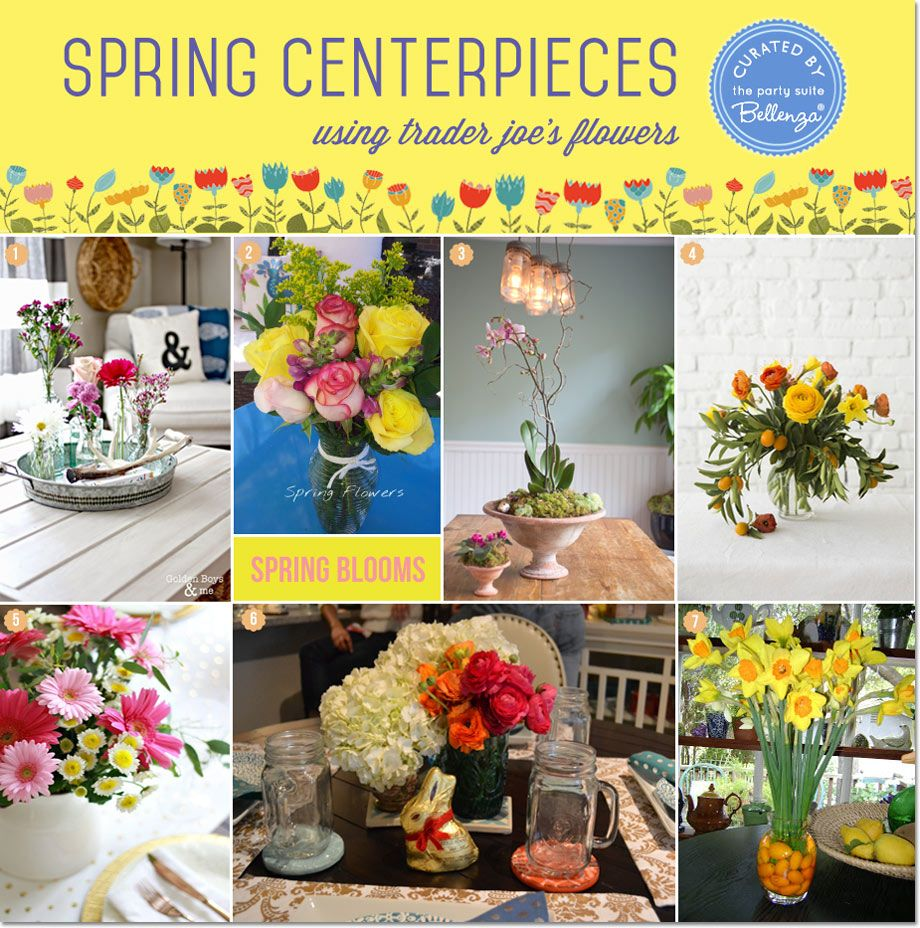 Tips For Diy Spring Centerpieces With Trader Joe S Flowers Unique Party Ideas From The Party Suite At Bellenza Spring Centerpiece Spring Diy Wedding Crafts Diy