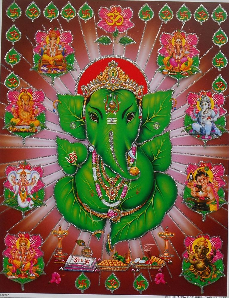 Nine Different Ways You Can Put Your Goals In Writing: Hindu Deity God Ganesh In Nine Different Forms Glittered