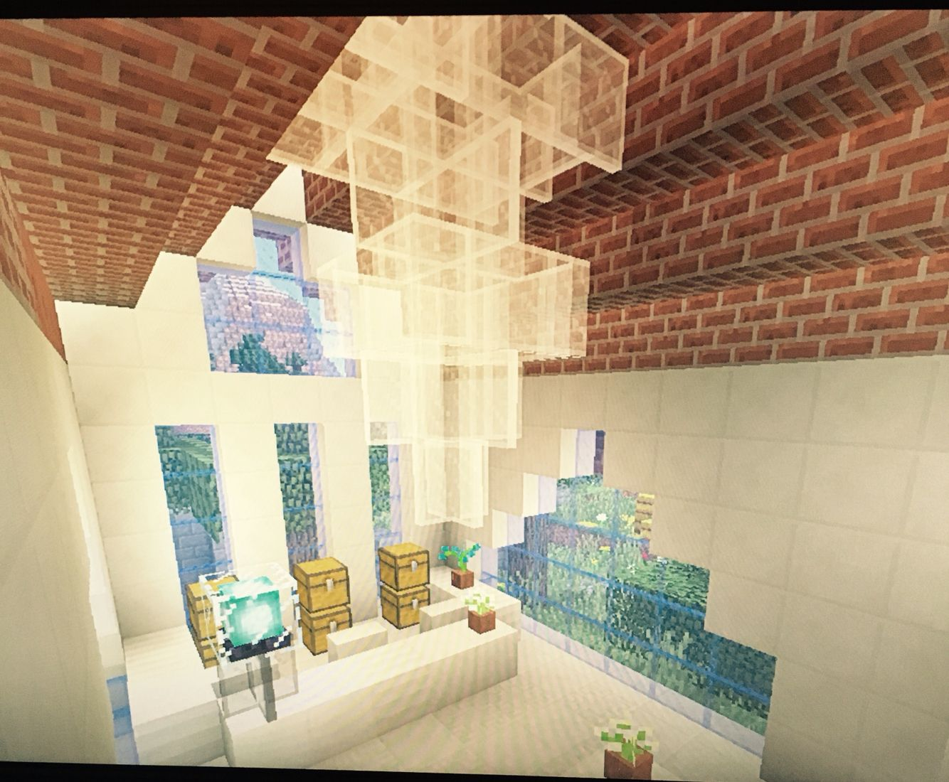 Minecraft schlafzimmer ~ Easy to do chandler in a bank built by me in minecraft my