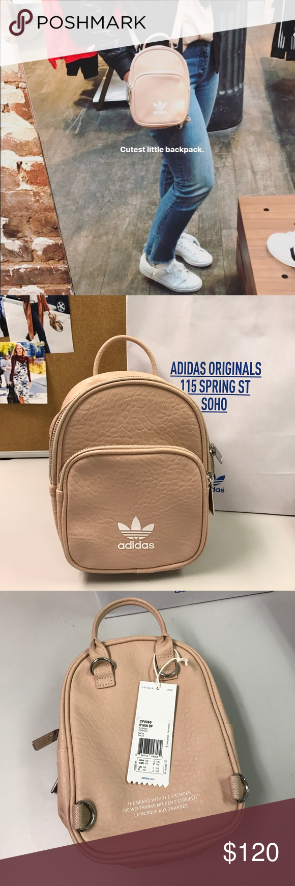 0b947f43bf1 Adidas Originals Mini Backpack Soo in love with this bag! Can be worn as  backpack or cross body. Super cute and on trend. Sold out everywhere!