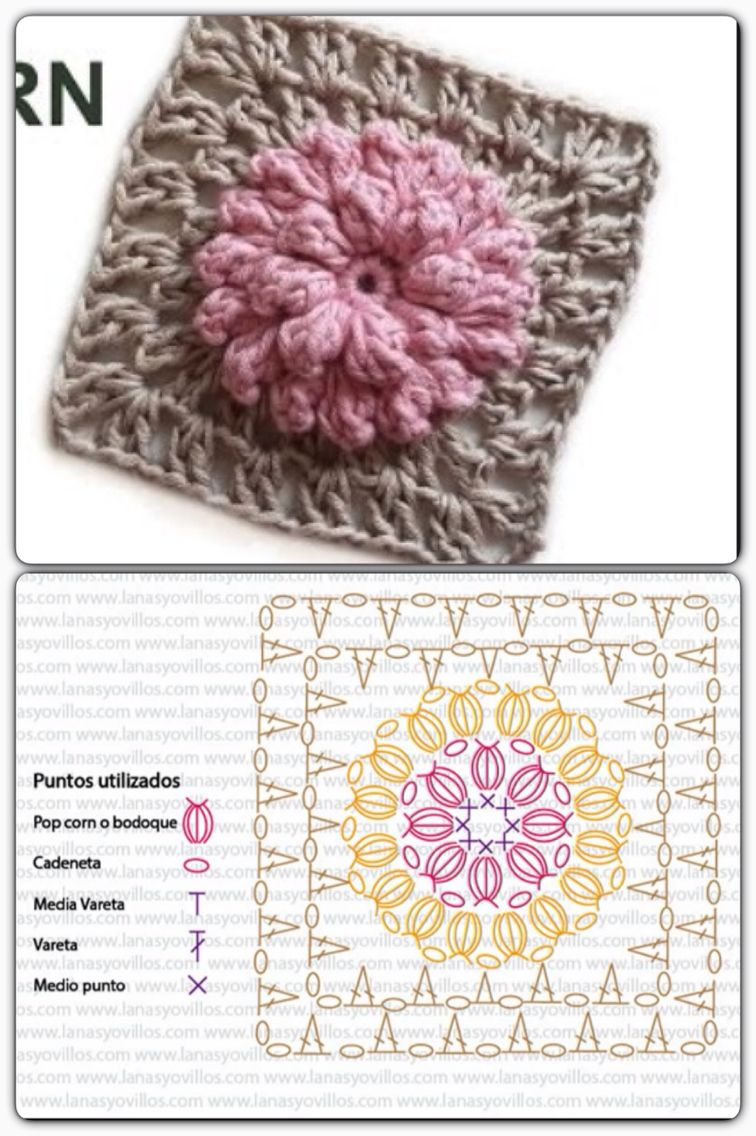 CROCHET FLOWER PUFF GRANNY SQUARE WITH DIAGRAM | ~~https://www ...