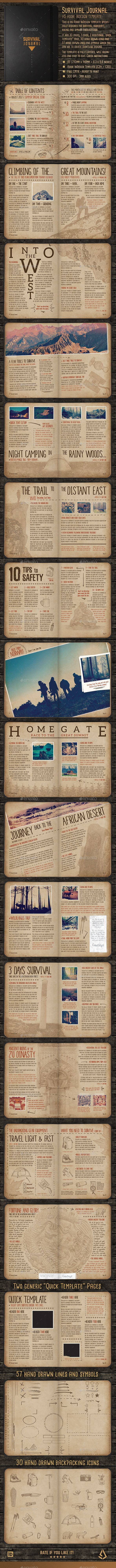 Survival Journal Template - A5 InDesign Outdoor Diary - Magazines ...
