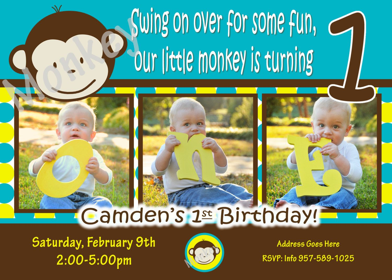 Mod Monkey Invitation Mod Monkey invite Photo - 1st Birthday Party ...