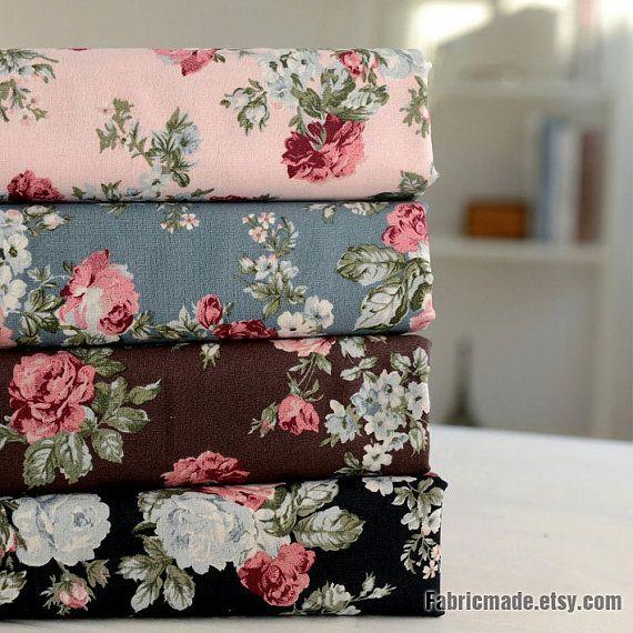 24914378aca Rose Floral Cotton Linen Fabric, Vintage Rose In Black Brown Blue Pink - 1/2  Yard