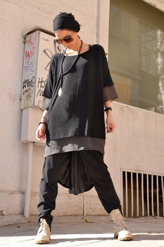 NEW Black TENCEL / Grey chiffon Loose Extravagant Shirt / Asymmetric shirt / Oversize Summer Top by Aakasha A12117