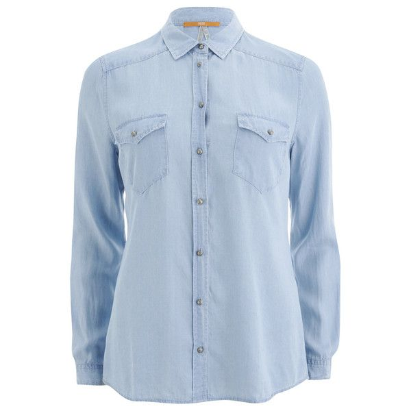 039f7079d5 BOSS Orange Women s Crop Denim Shirt (305 MYR) ❤ liked on Polyvore  featuring tops