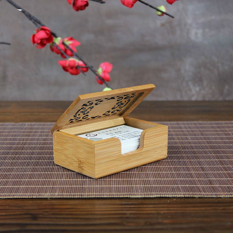 bamboo Business card holder Case Handiwork Desktop Type Personality ...