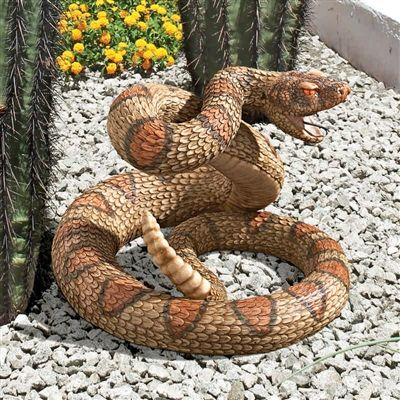 """Western Diamond Back Rattlesnake"" Statue.  Realistically coiled and ready to strike, this venomous snake statue is sculpted with such great detail that guests don't just do a double-take, they head for the hills! #rattlesnake #statue #sculpture"