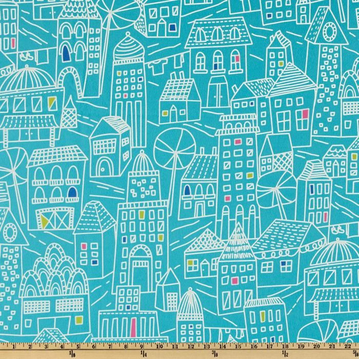 Irving Street Flannel Downtown Turquoise
