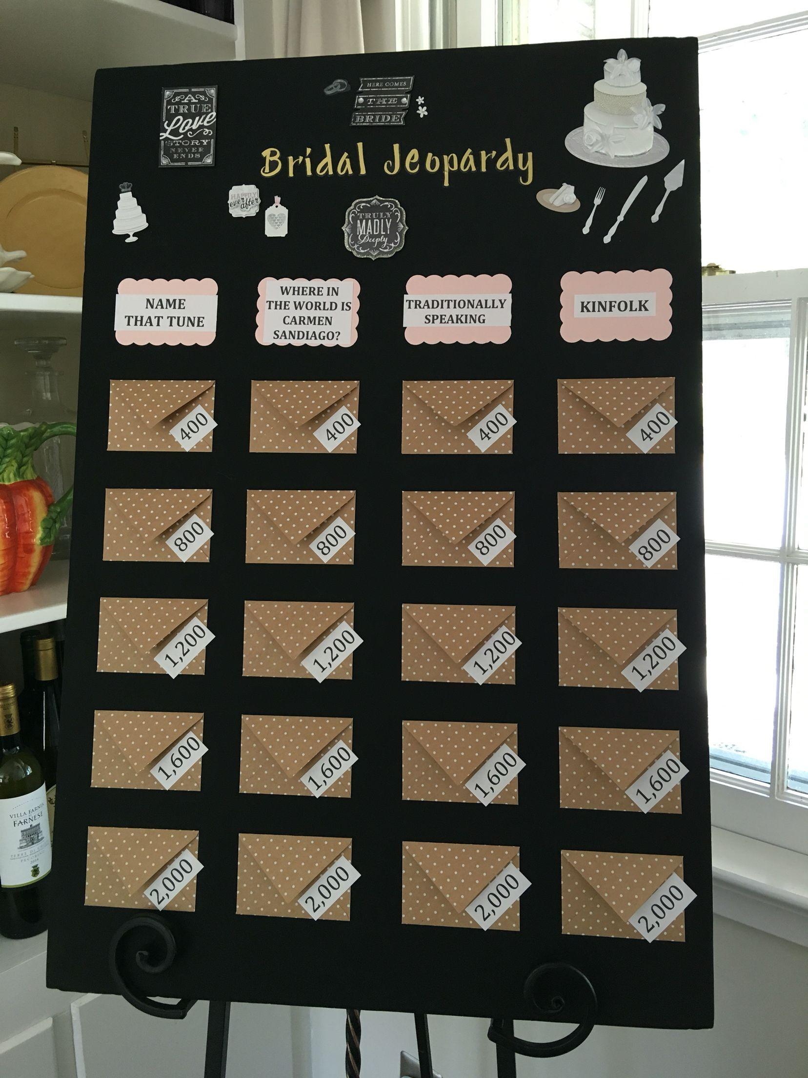 Bridal jeopardy so much fun More