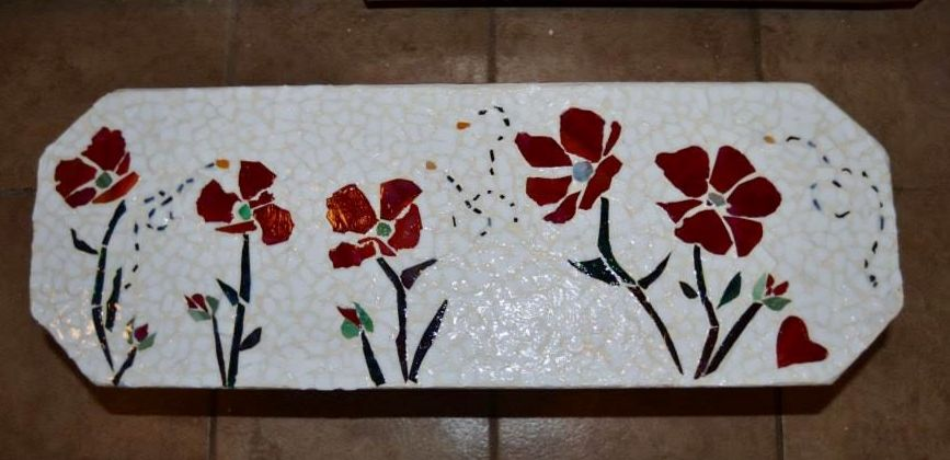 Mosaic on bench by https://www.facebook.com/TheVintageGarden?ref=hl ...