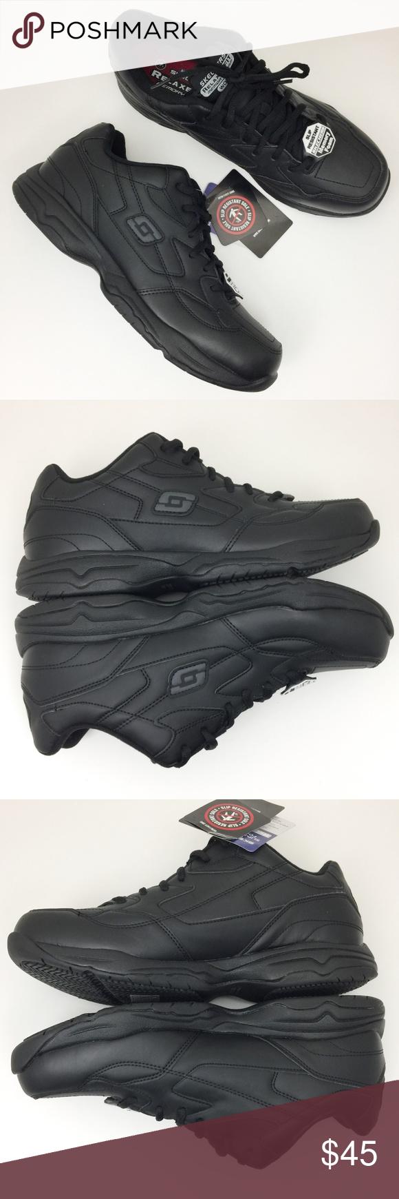 5b219e7c9029 SKECHERS Work Felton Black Slip Resistant Sneakers Men s Skechers Slip  Resistant Work Shoes. Protect your