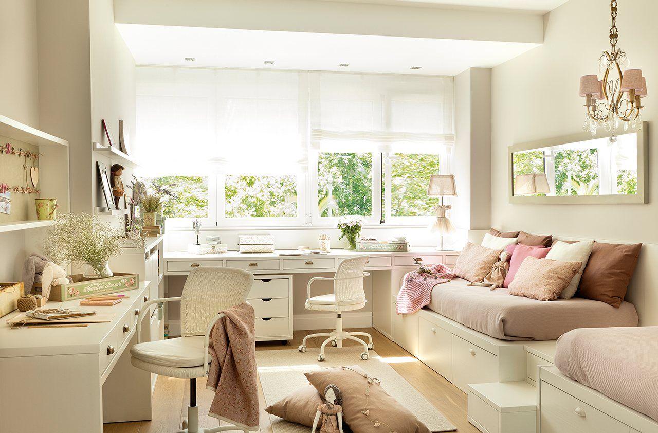 Tres dormitorios para dos crecer y compartir elmueble for Escritorios dobles juveniles