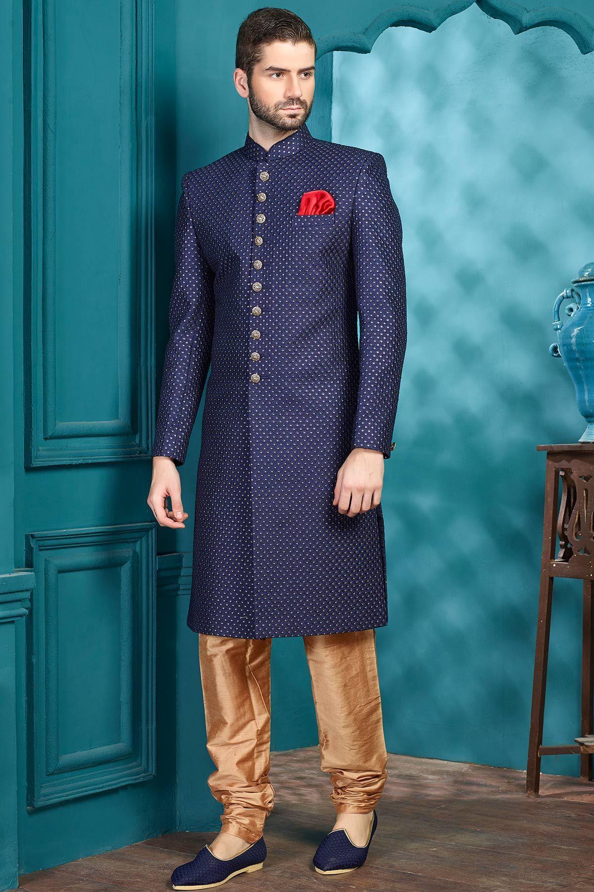 Blue Raw Silk Sequins Embroidered Indo Western Sherwani-IW1007 ...