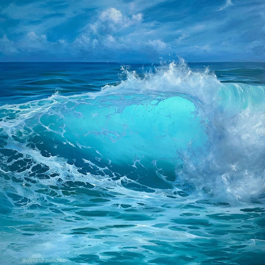 Close Up Turquoise Wave Oil On Canvas 90x90cm Feel Free To Here Sold Art Art Ocean Painting Ocean Waves Photography Seascape Paintings Waves close up photography of sea