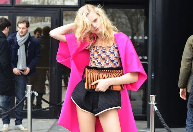 Hot pink kimono style jacket shot by Tommy Ton