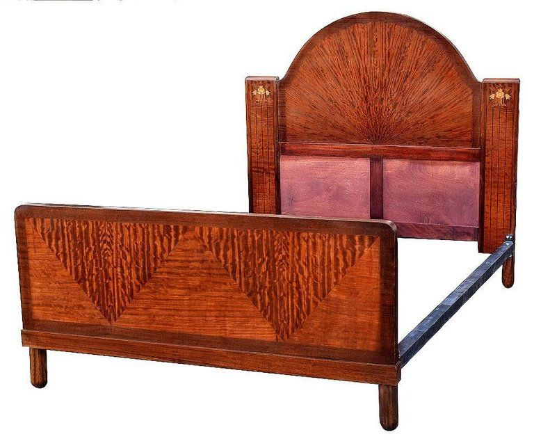 Art Deco English King Size Bed With Sunray Headboard In Good