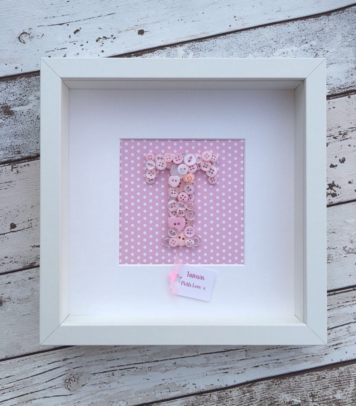Handmade Button Art Letter Monogram Personalised 3D Picture Frame ...