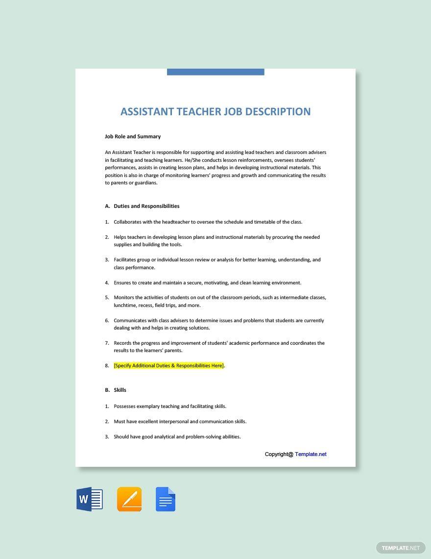Free Assistant Teacher Job Description Template in 2020