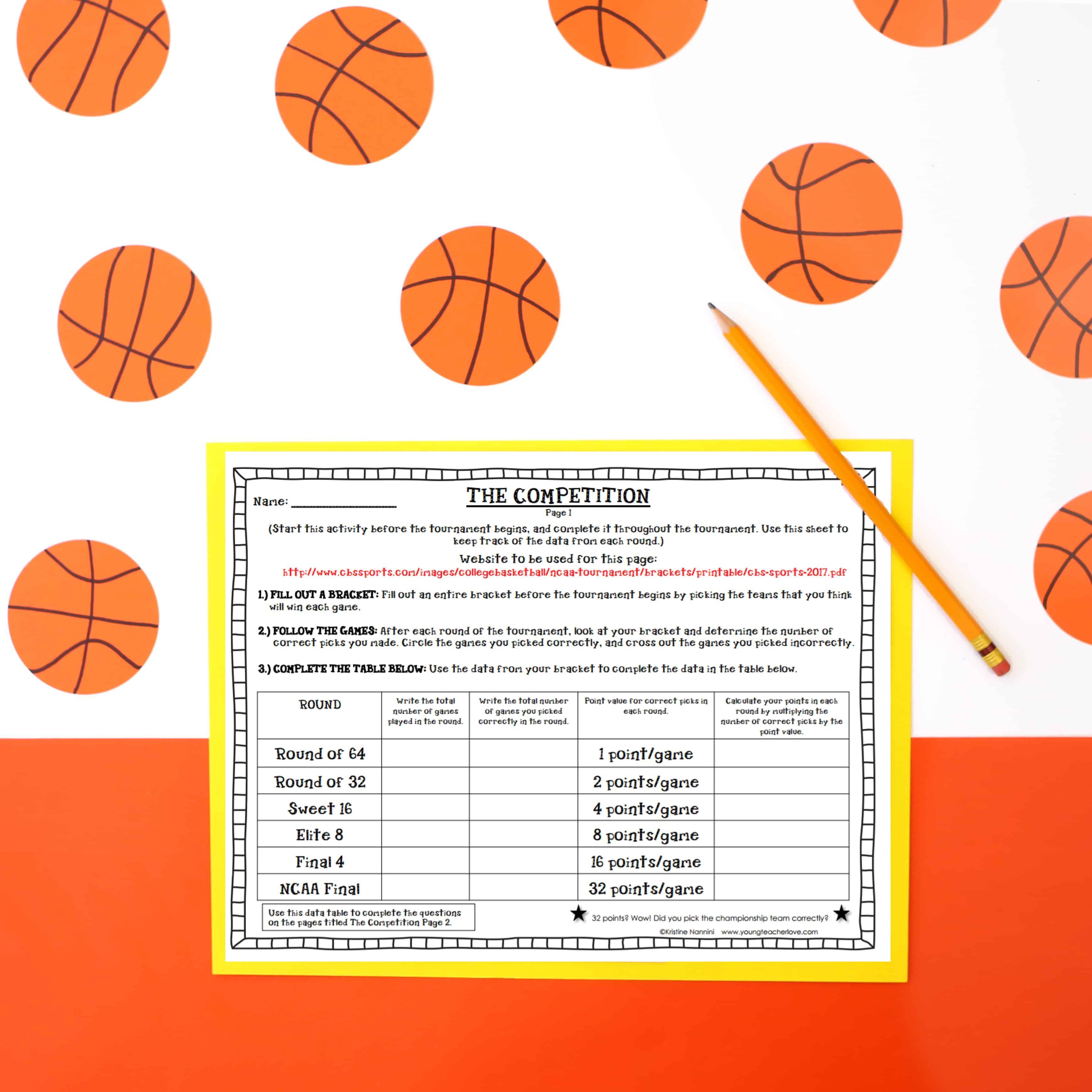 March Madness Basketball Tournament Math Project Young Teacher Love March Madness Math Math Projects March Madness Math Project