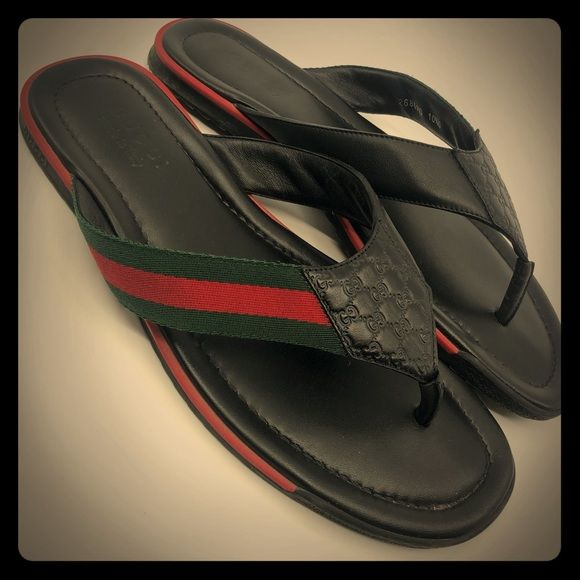 4d0f1b7cbaf Gucci Black Leather Thong Sandals Gucci thong sandal with web detail. - black  leather with