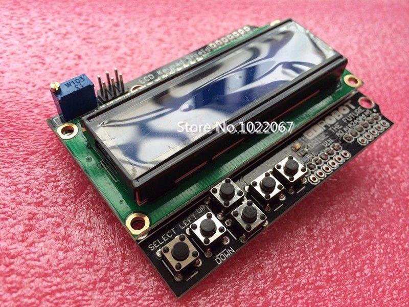 무료 배송 LCD 키패드 쉴드 LCD1602 LCD 1602 모듈 디스플레이 아두 ATMEGA328 ATMEGA2560 라즈베리 파이 UNO 블루 스크린