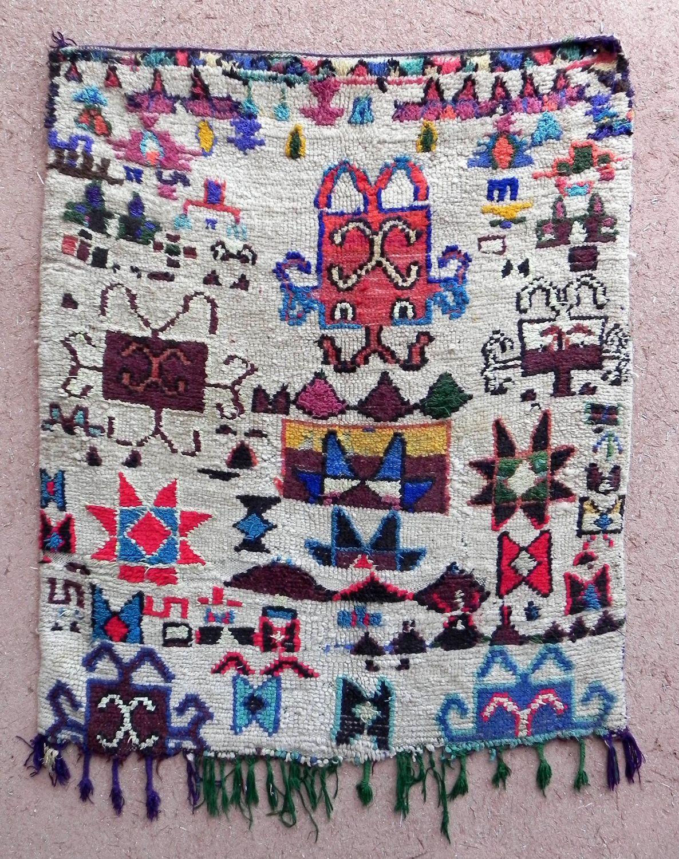 Vintage Moroccan Berber Rag Rug Azilal Boucherouite