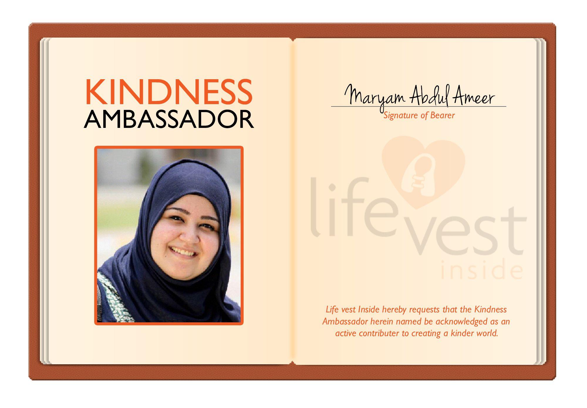 Maryam Abdul Ameer #KindnessRevolution #Ambassador #LifeVestInside