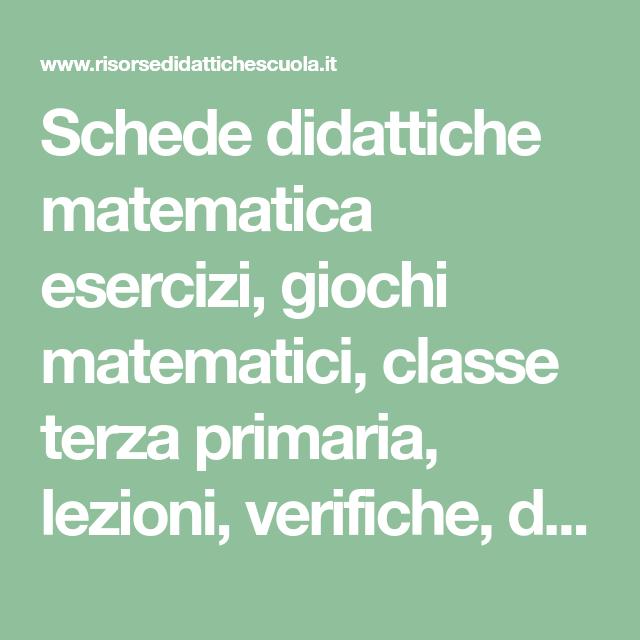 Schede Didattiche Matematica Esercizi Giochi Matematici Classe