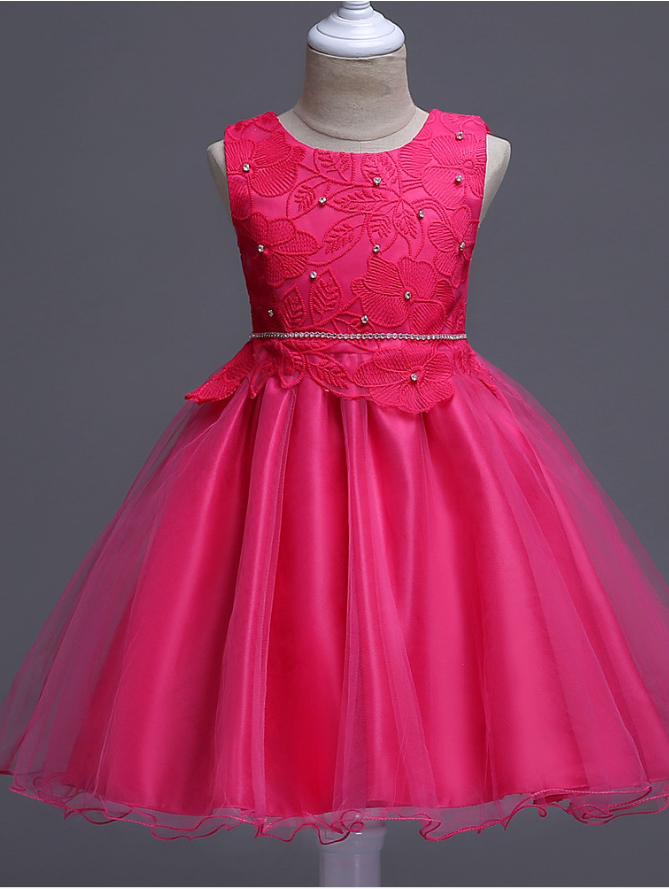 9f11d608f8369 Party Clothes Hot - Flower Girl Dress, Princess Tutu Dress Wedding Party  Flowers Girls Birthday Dresses Floral Lace Baby Kids Clothes Hot Pink.
