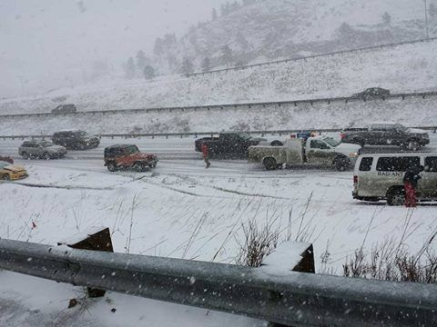 Several storm-related highway closures were reported around the Denver metro and the High Country. Eastbound I- 70 is closed near Lookout Mountain after a multi-vehicle wreck (seen in picture) & I-70 westbound at Vail Pass is shut down after a crash near mile-marker 190. Live Traffic Blog: http://bit.ly/1wpMlWH Feb/25/2015