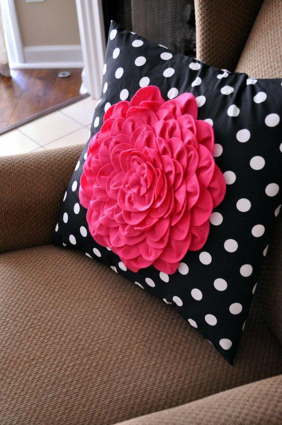 CLEARANCE - Gray Chevron Pillow - Chevron Accent Pillow - Felt Flower Pillow - Dahlia Pillow - Chevron Flower Pillow