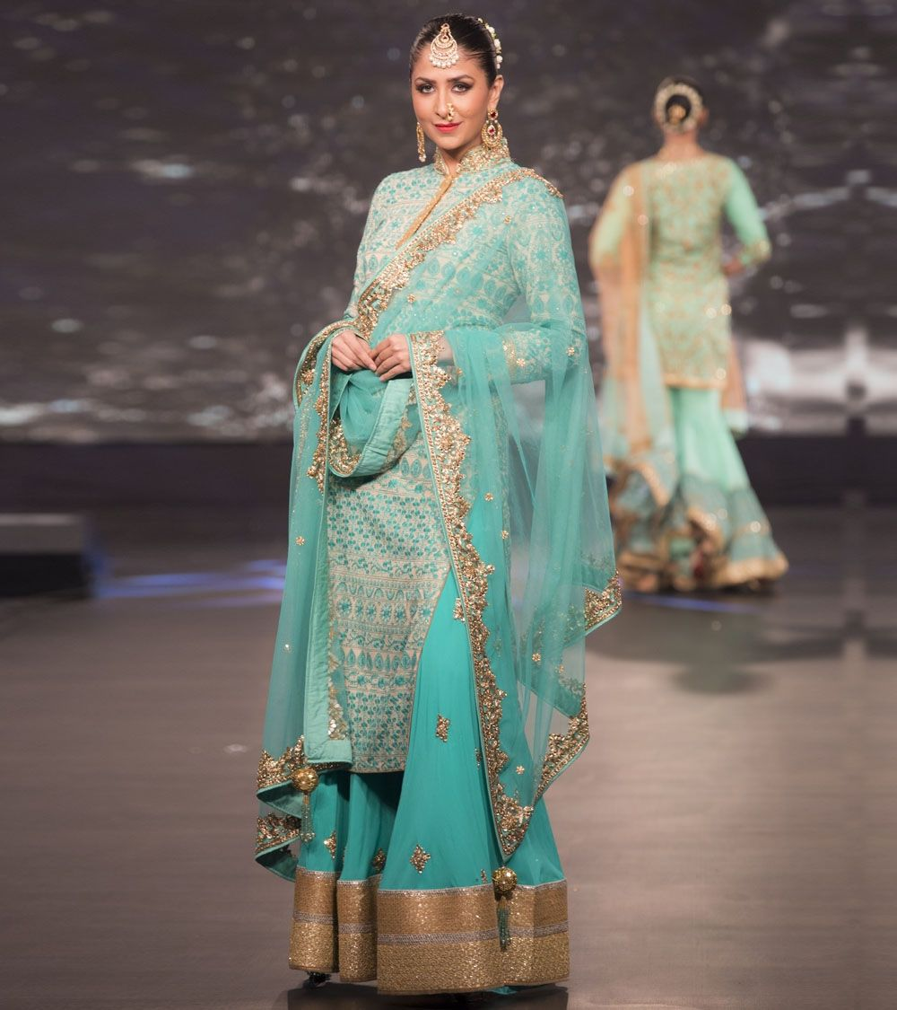 Aqua Embroidered #Georgette #Palazzo Set by #Vikram #Phadnis at ...