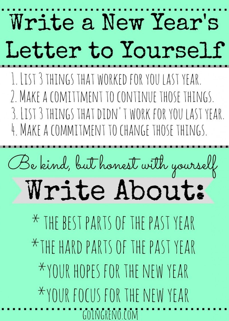 Start a New Year's Tradition of writing a letter to yourself, to