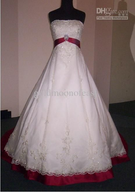 Brand New Sexy White Red Rose Strapless Court Train Tulle And Satin Wedding Dress Of Bride MIC063