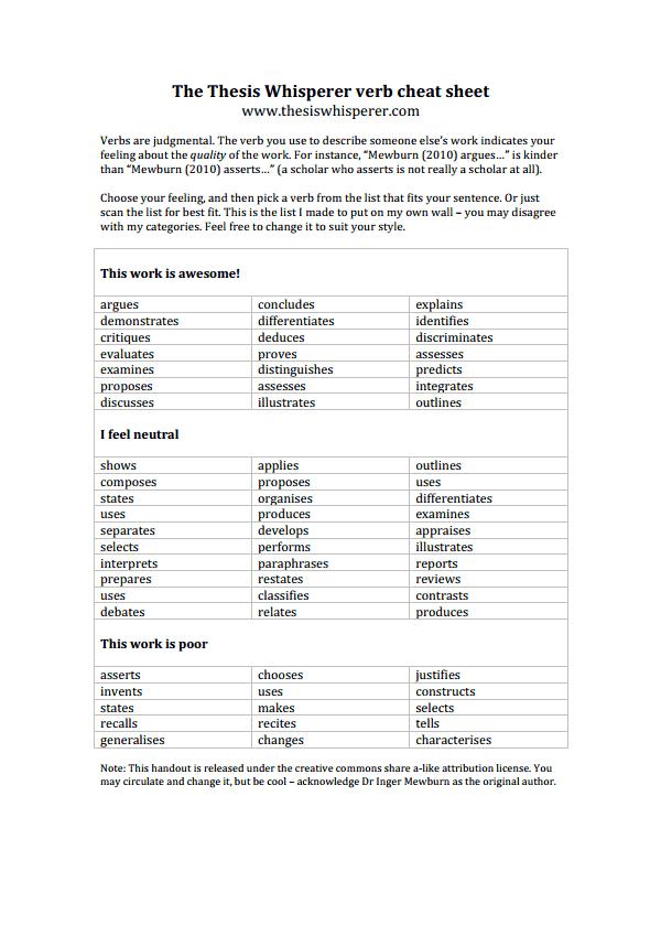 thesis whisperer verb cheat sheet