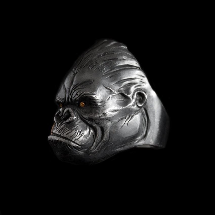 bague argent gorille